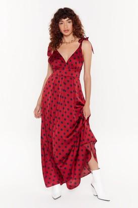 Nasty Gal Womens Gathering Intel Polka Dot Maxi Dress - red - 6
