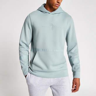 River Island Maison Riviera light blue slim fit hoodie