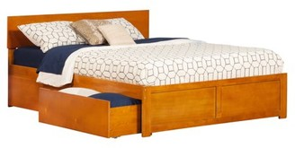 Atlantic Furniture Orlando Platform Bed with Flat Panel Foot Board and 2 Urban Bed Drawers, Multiple Colors, Multiple Sizes