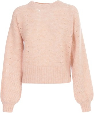 See by Chloe Alpaca Color Block Knit L/balloon Sleeves Crew Neck