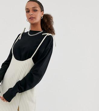 Reclaimed Vintage inspired braces mini skirt in pinstripe