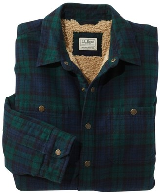 L.L. Bean Men's Sherpa-Lined Scotch Plaid Shirt, Slightly Fitted