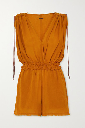 CARAVANA Net Sustain Kaayche Leather-trimmed Frayed Cotton-gauze Playsuit - Orange