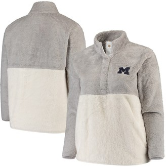 Women's Gray/Cream Michigan Wolverines Plus Size Fuzzy Fleece Colorblocked Four-Snap Pullover Jacket