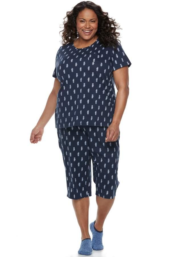 Croft & Barrow Plus Size Short Sleeve Novelty Pajama Set