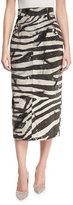 Marc Jacobs Embellished Zebra-Print Pencil Skirt, White