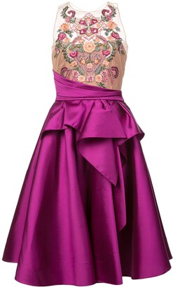 Marchesa embroidered top flared dress