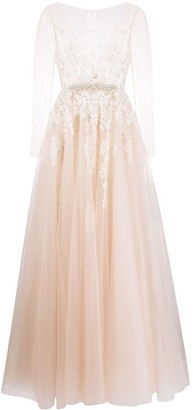 Loulou Sheer-Sleeved Bridal Gown