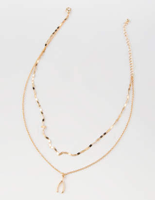 Full Tilt Wishbone Dainty Necklace