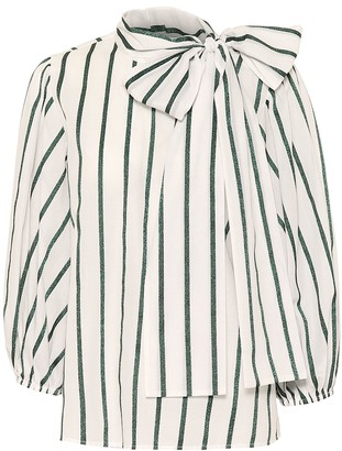 RED Valentino Striped cotton-blend blouse