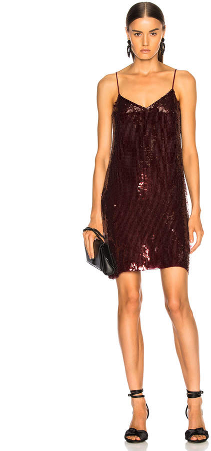 Tibi Sequins Beaded Slip Dress in Burgundy | FWRD