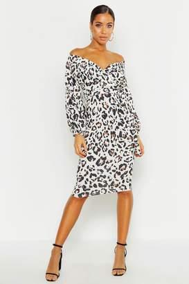 boohoo Leopard Print Off Shoulder Wrap Midi Dress