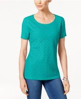 Karen Scott Lace-Front T-Shirt, Only at Macy's