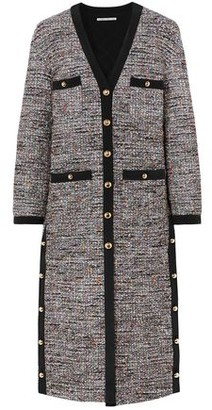 Alessandra Rich Silk Crepe-trimmed Button-detailed Boucle-tweed Cardigan