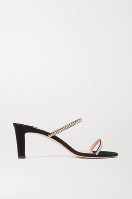 Jimmy Choo Brea 65 Crystal-embellished Suede Sandals - Black