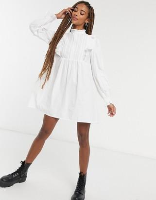 ASOS DESIGN cotton trapeze mini smock dressl in white