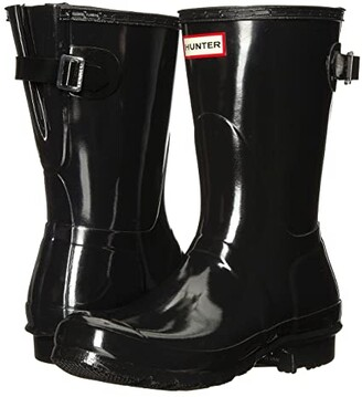 Hunter Back Adjustable Short Gloss Rain Boots (Black) Women's Rain Boots