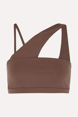 YEAR OF OURS Barre One-shoulder Stretch Sports Bra - Taupe