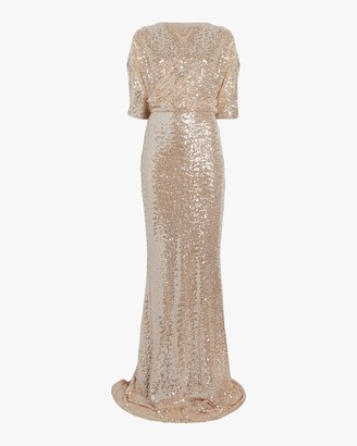 Badgley Mischka Sequin One Shoulder Gown