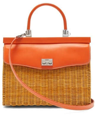 Rodo Leather And Wicker Top-handle Bag - Womens - Orange