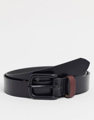 ASOS DESIGN leather slim belt with matte black buckle and contrast keeper