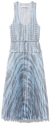 Proenza Schouler Printed Smocked Top Dress in Light Blue/Grey Alligator