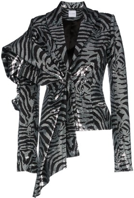 Halpern Silk Zebra-Stripe Sequinned Jacket
