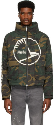 Rhude Green Camouflage Puffer Jacket