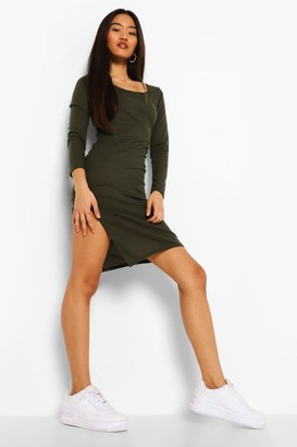 boohoo Petite Square Neck Side Split Midi Dress