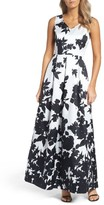 Ellen Tracy Women's Floral Print Faille Gown