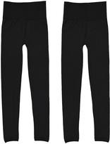 Black High-Waist Fleece-Lined Leggings Set