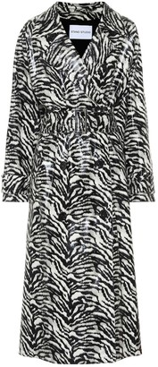 Stand Studio Shelby zebra-print faux leather trench coat