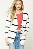 Forever 21 FOREVER 21+ Stripe Ribbed Knit Cardigan