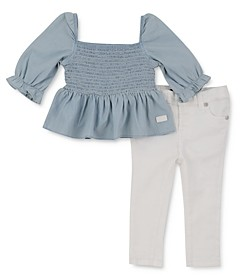 7 For All Mankind Girls' Smocked Top & Jeans Set - Baby
