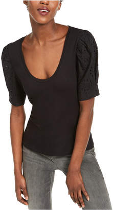 INC International Concepts Inc Petite Eyelet-Puff-Sleeve Top