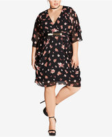 City Chic Trendy Plus Size Floral-Print Kimono Dress