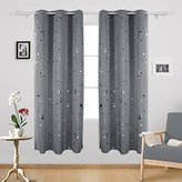Deconovo Silver Dots Printed Thermal Insulated Blackout Window Curtains Light Blocking Curtains for Kids Room 42 W x 84 L Dark Gray 2 Panels