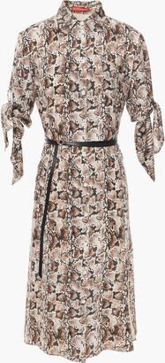 Altuzarra Belted Snake-print Silk Crepe De Chine Dress