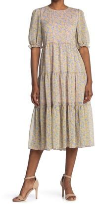 MelloDay Short Sleeve Tiered Maxi Dress