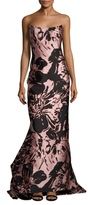 Oscar de la Renta Bustier Silk Back Flounce Gown