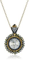 Miguel Ases Labradorite and Swarovski Crystal Pendant Necklace