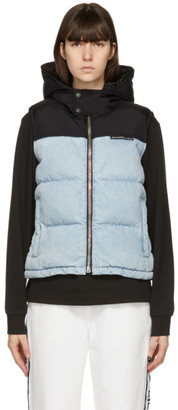 Alexander Wang Blue and Black Hooded Puffer Vest