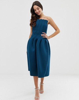 Asos Design DESIGN seamed bandeau prom midi dress