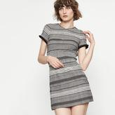 Maje Two-tone knit dress with smocking