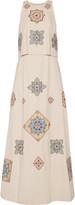 Tory Burch Layered embellished cotton and linen-blend gown