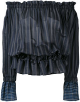 Hache striped off-shoulder blouse - women - Silk/Cotton - 40