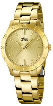 Lotus Women's Quartz Watch with Gold Dial Analogue Display and Stainless Steel Gold Plated Bracelet 18140/2