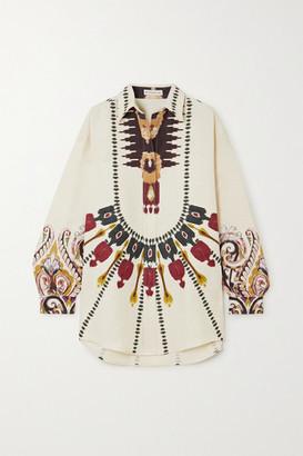 Etro Oversized Printed Silk And Cotton-blend Shirt - Ecru