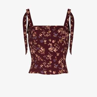 Reformation Ellora tie strap floral top