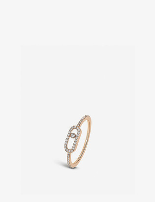 Messika Move Uno 18ct pink-gold and pave diamond ring